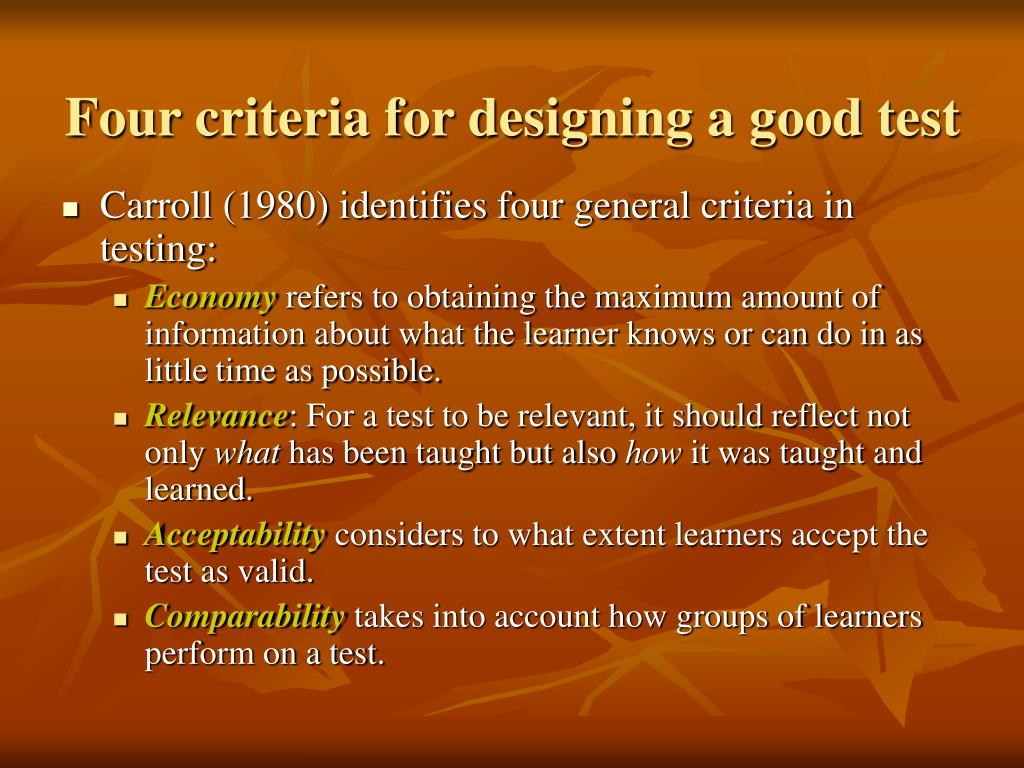 Four criteria for designing a good test