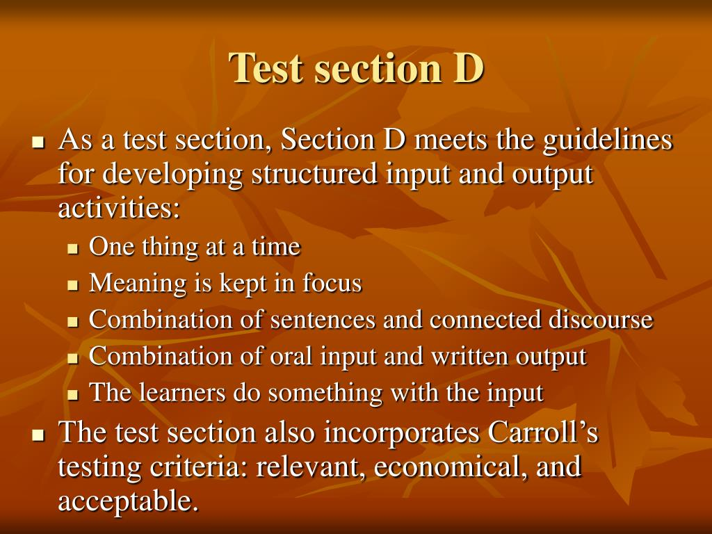 Test section D