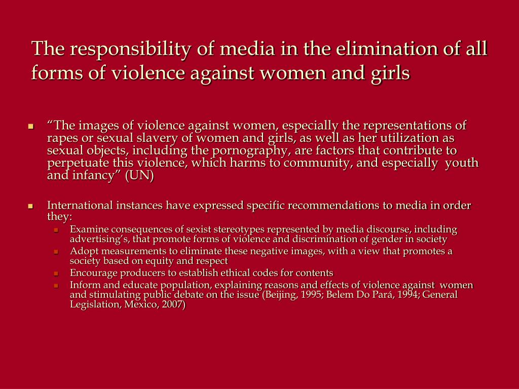 The responsibility of media in the elimination of all forms of violence against women and girls