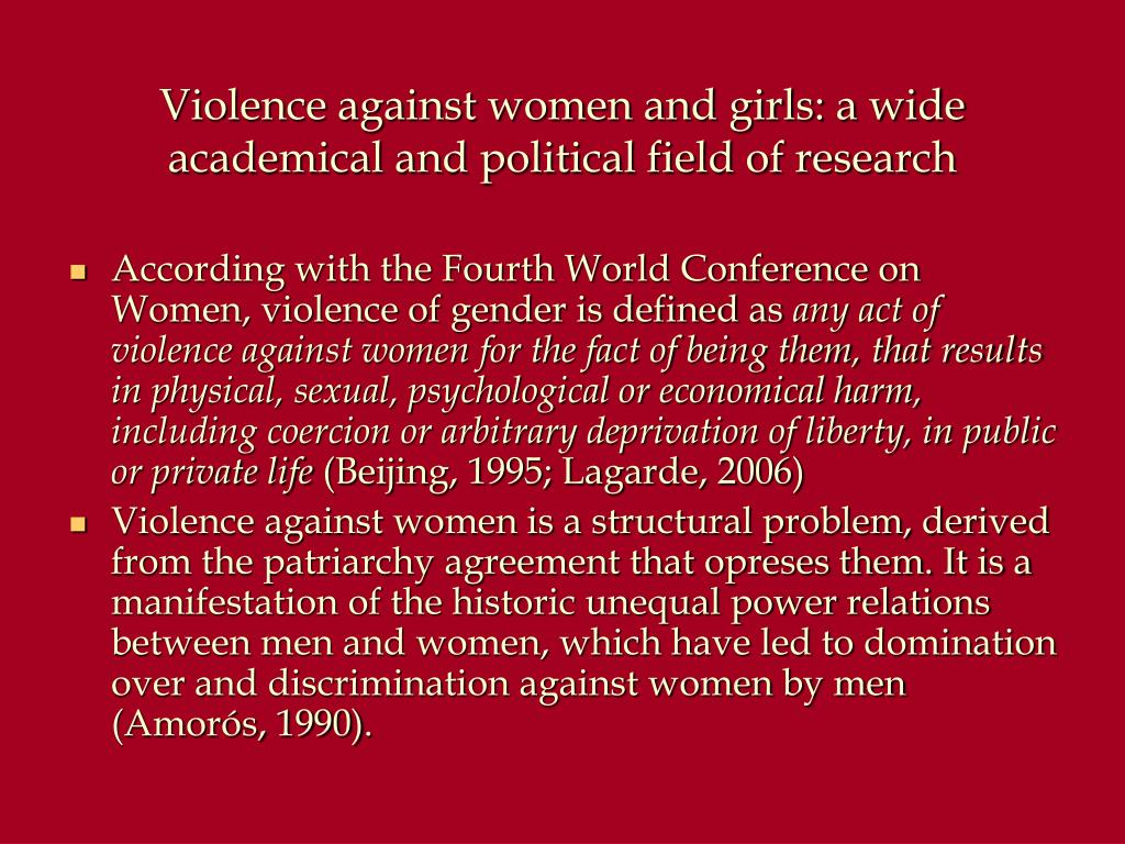 Violence against women and girls: a wide academical and political field of research