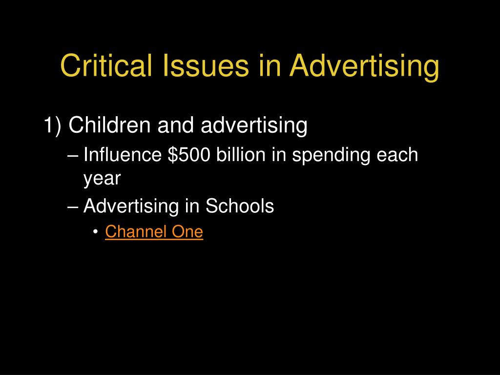 Critical Issues in Advertising