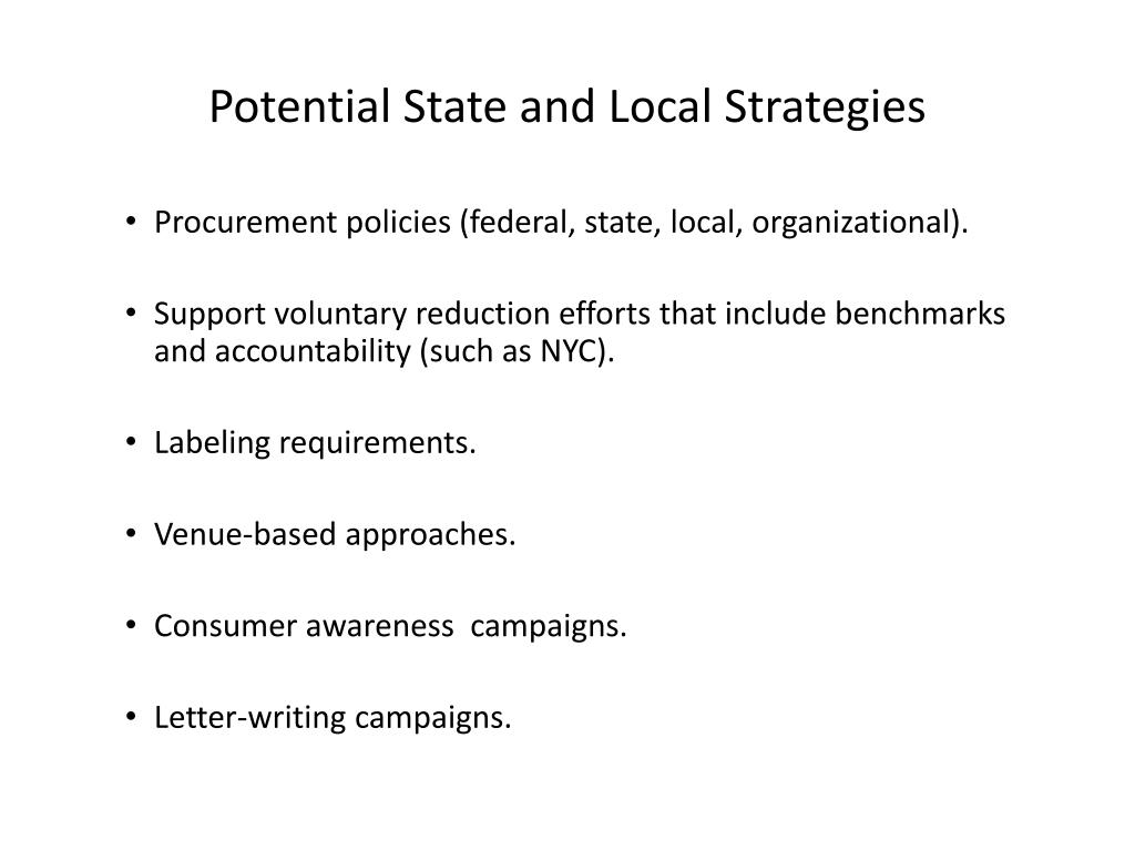 Potential State and Local Strategies