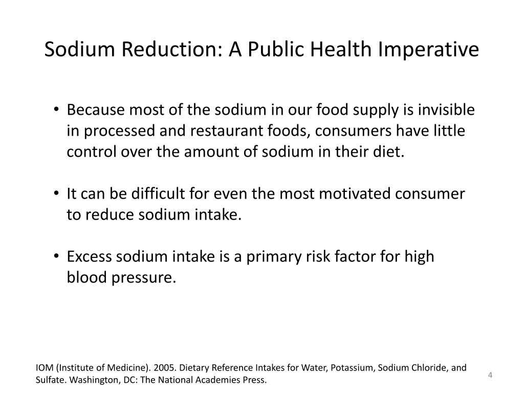 Because most of the sodium in our food supply is invisible in processed and restaurant foods, consumers have little control over the amount of sodium in their diet.