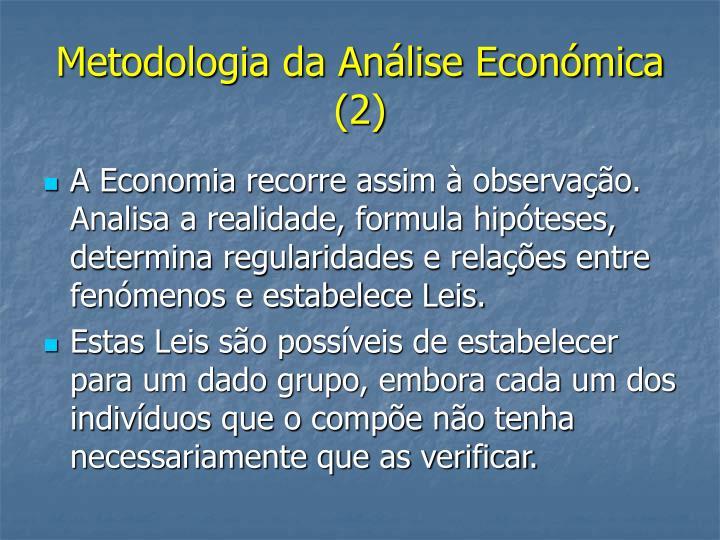 Metodologia da Análise Económica (2)