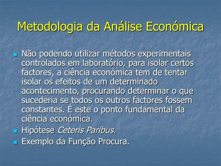 Metodologia da Análise Económica