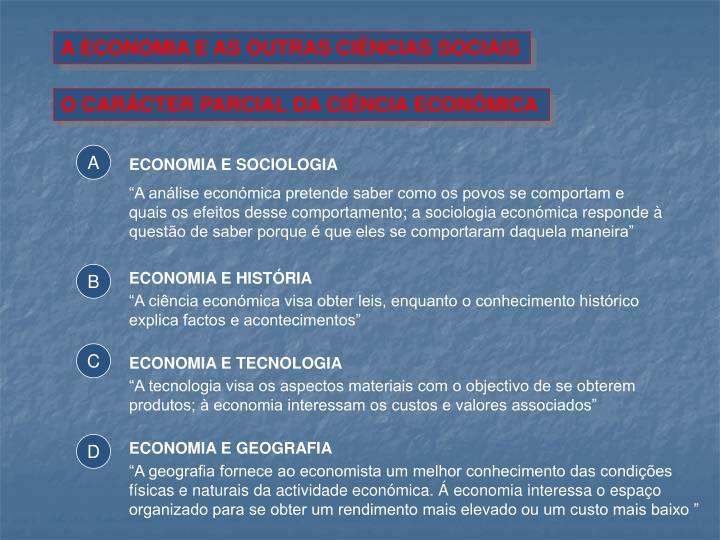 A ECONOMIA E AS OUTRAS CIÊNCIAS SOCIAIS