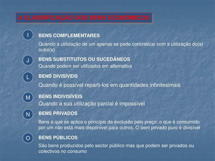 A CLASSIFICAÇÃO DOS BENS ECONÓMICOS