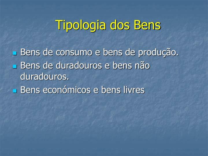 Tipologia dos Bens