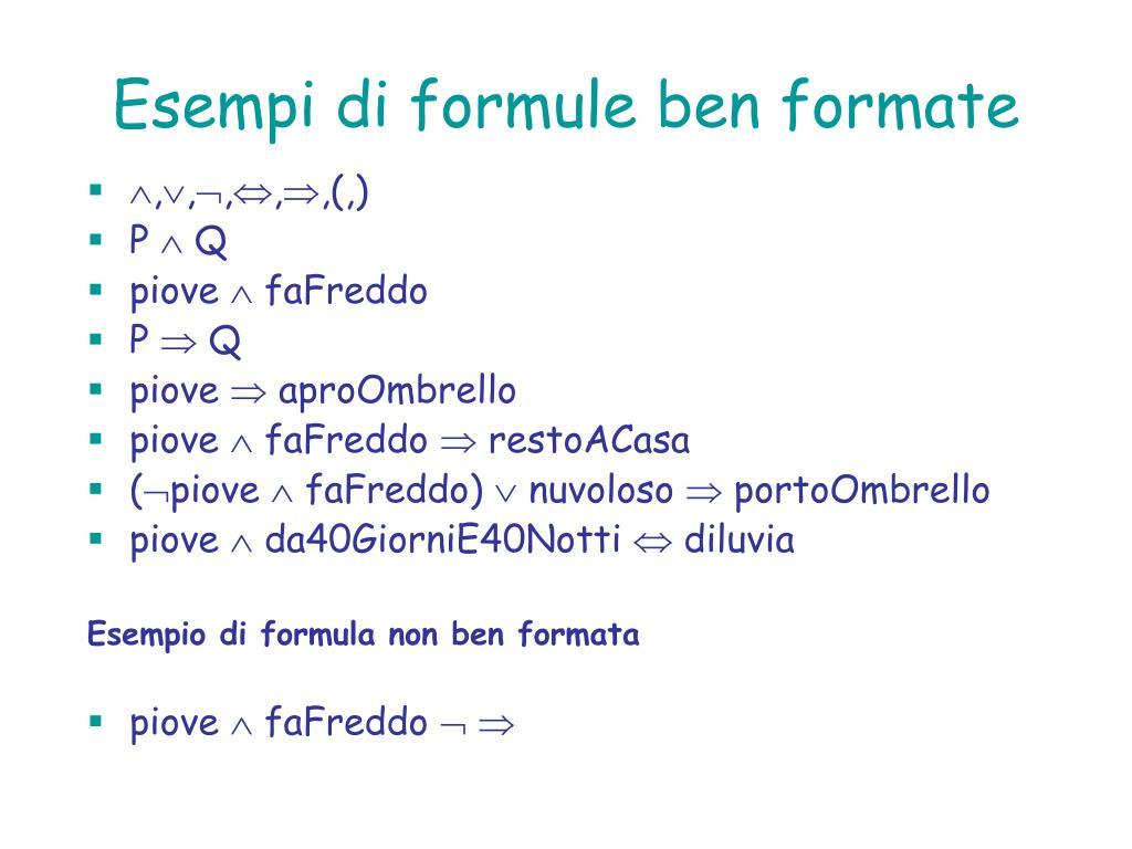 Esempi di formule ben formate