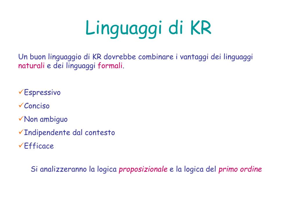 Linguaggi di KR