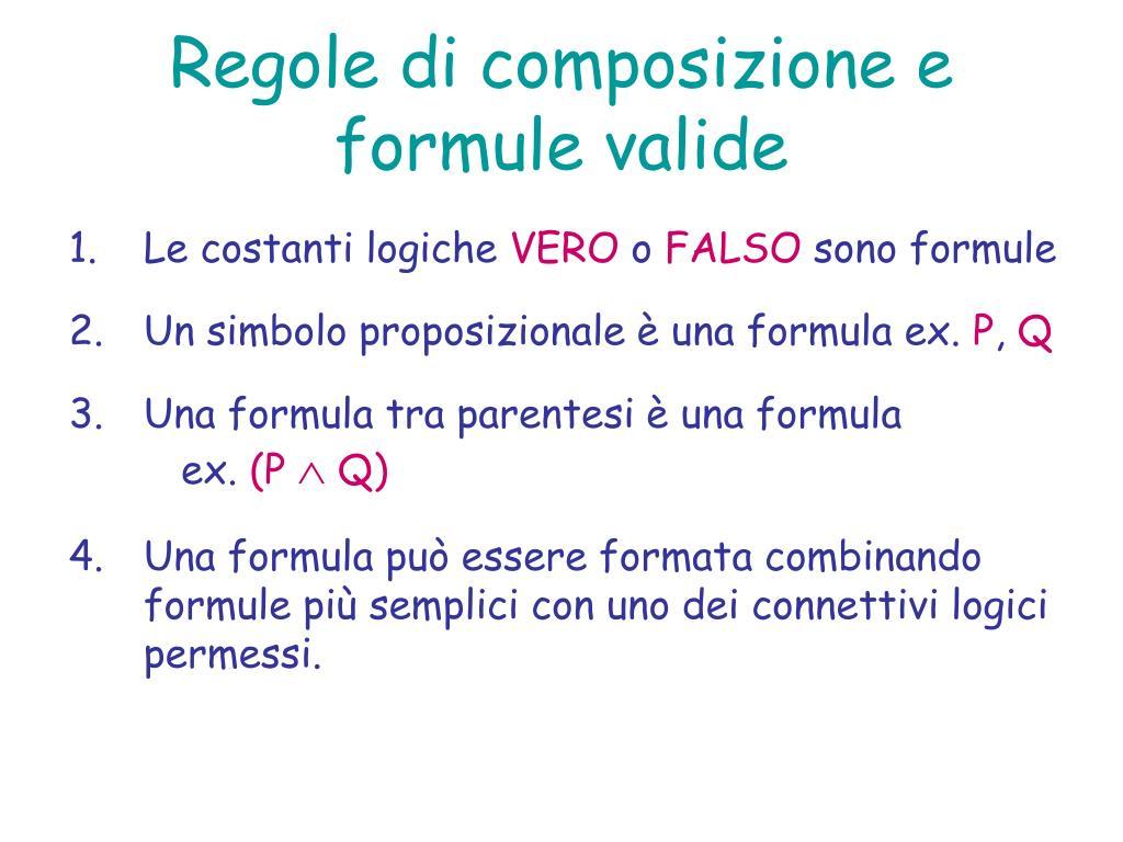 Regole di composizione e formule valide