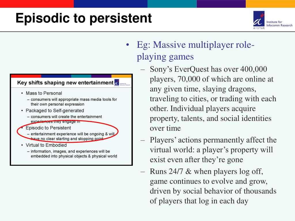 Eg: Massive multiplayer role-playing games