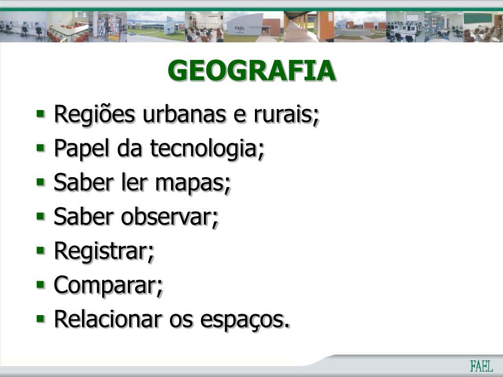 Regiões urbanas e rurais;