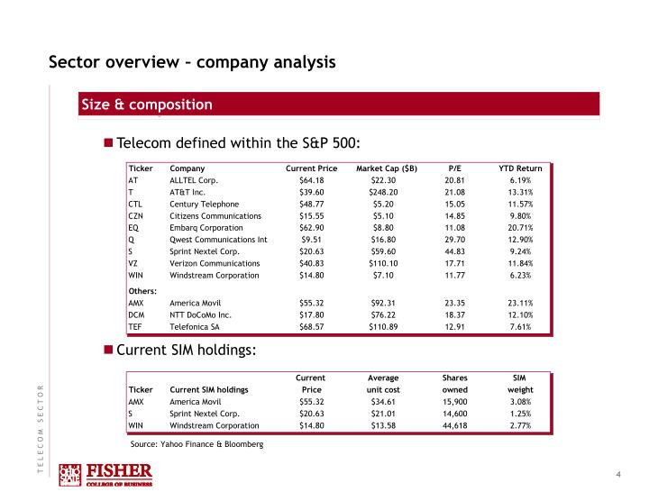 Sector overview – company analysis