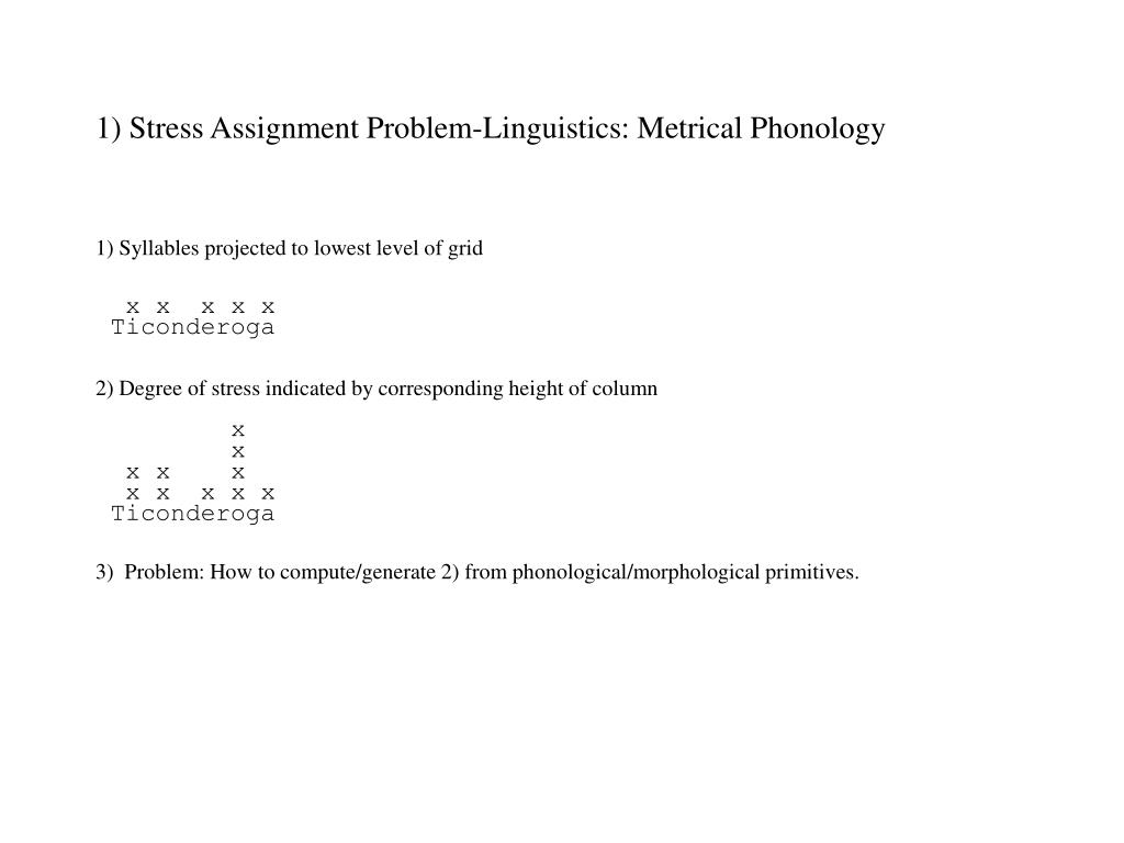 1) Stress Assignment Problem-Linguistics: Metrical Phonology