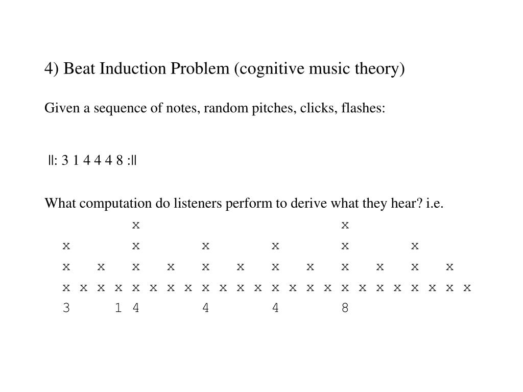 4) Beat Induction Problem (cognitive music theory)