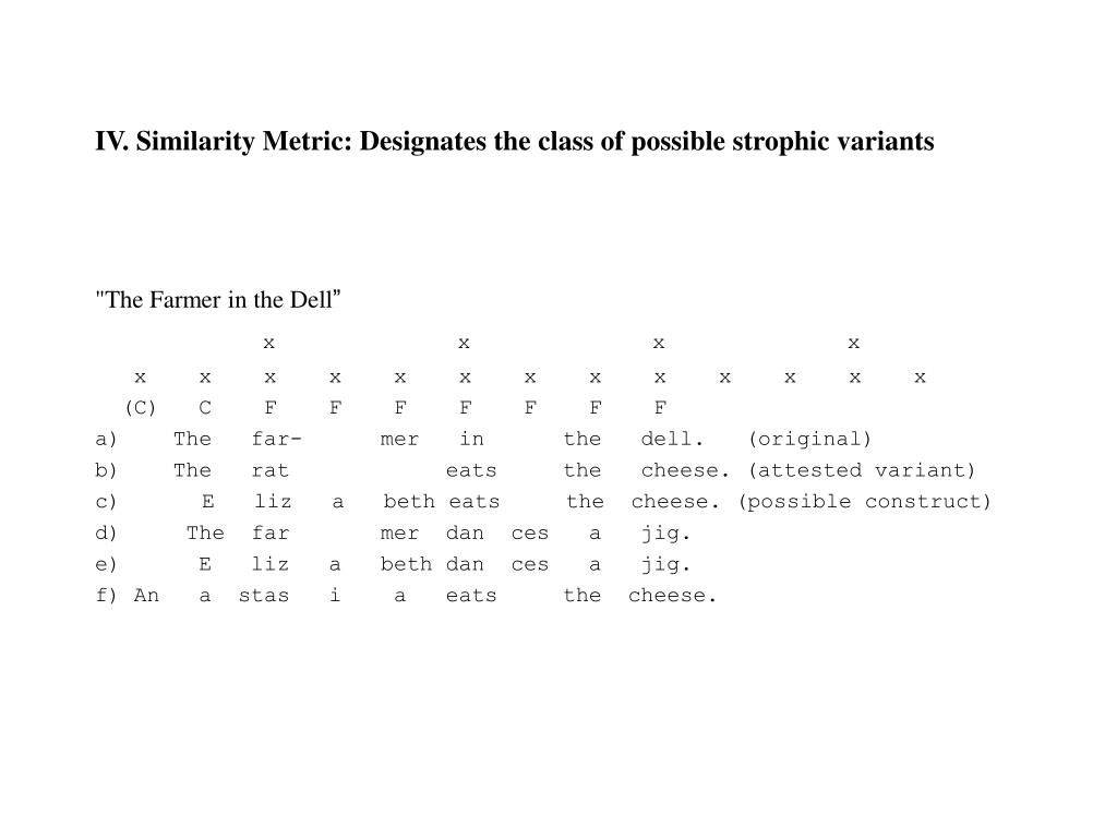 IV. Similarity Metric: Designates the class of possible strophic variants