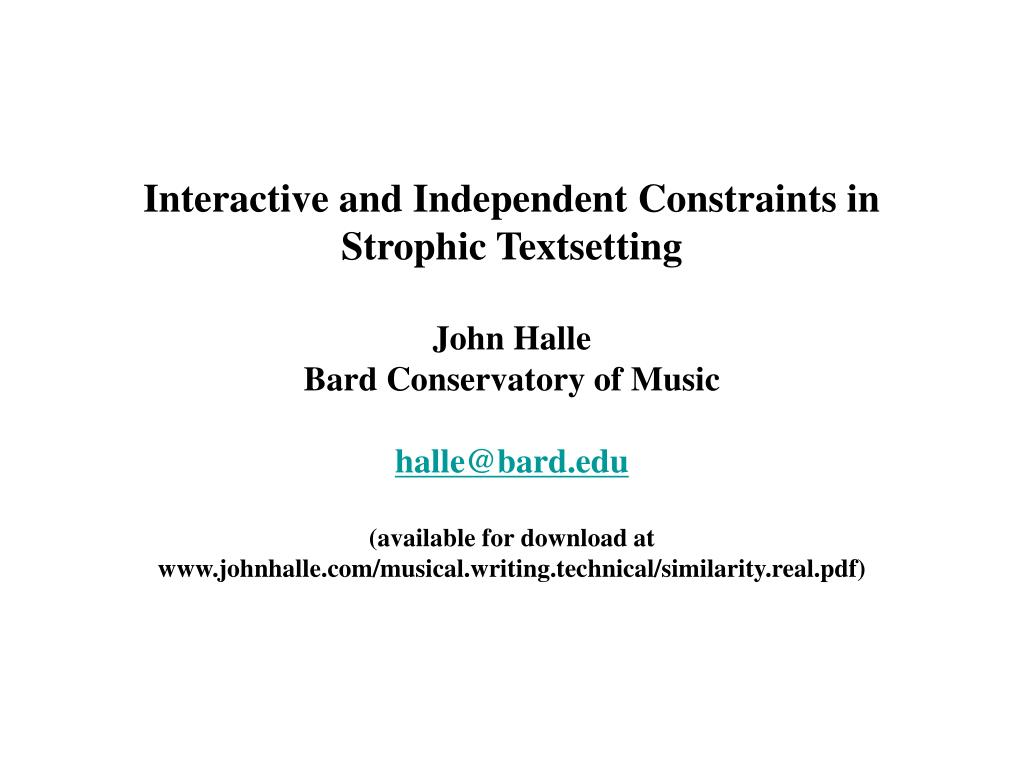 Interactive and Independent Constraints in Strophic Textsetting