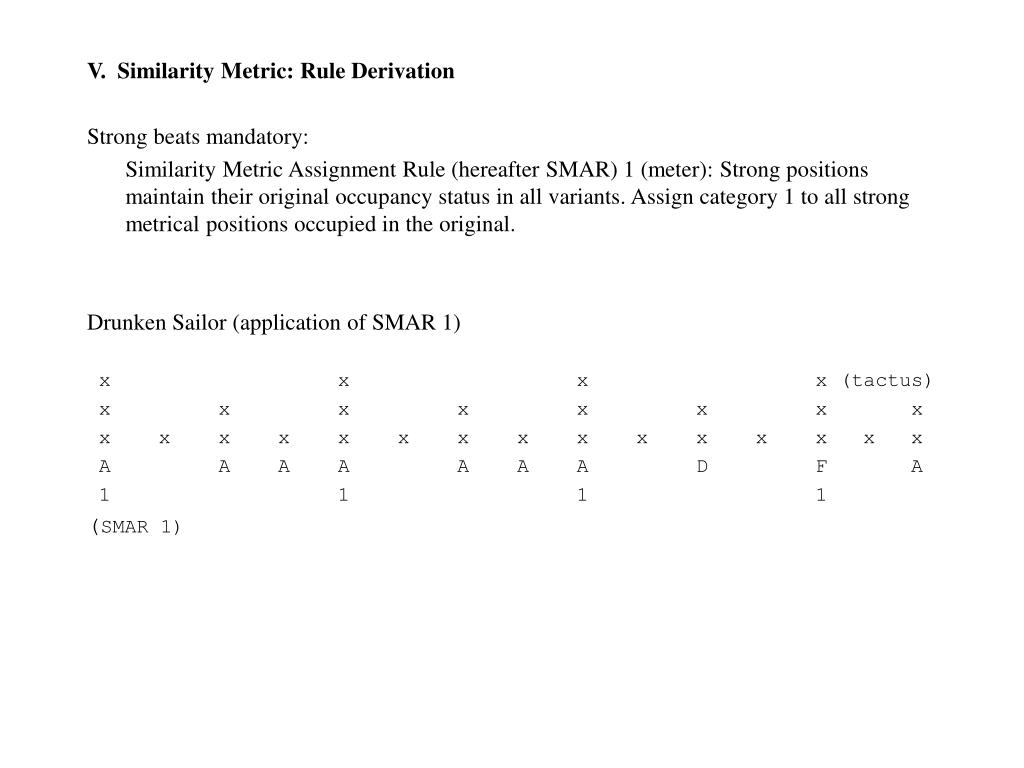 V.  Similarity Metric: Rule Derivation