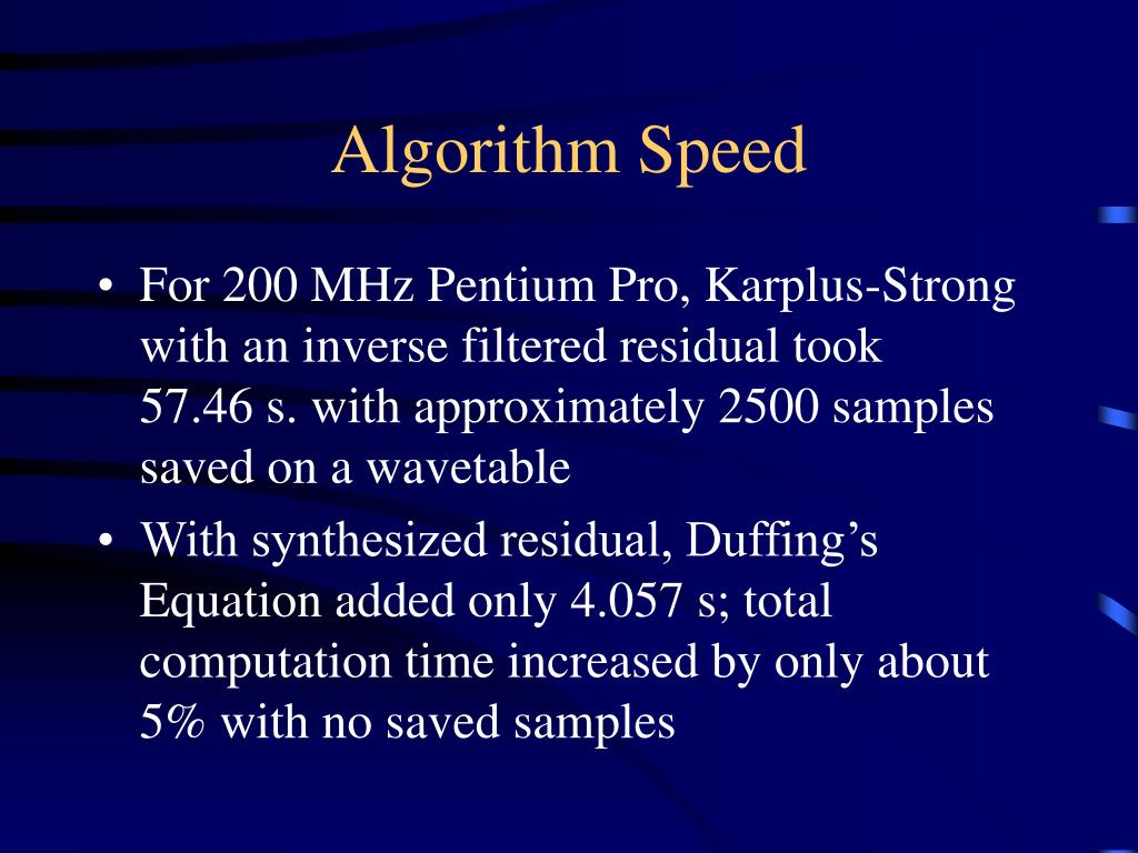 Algorithm Speed