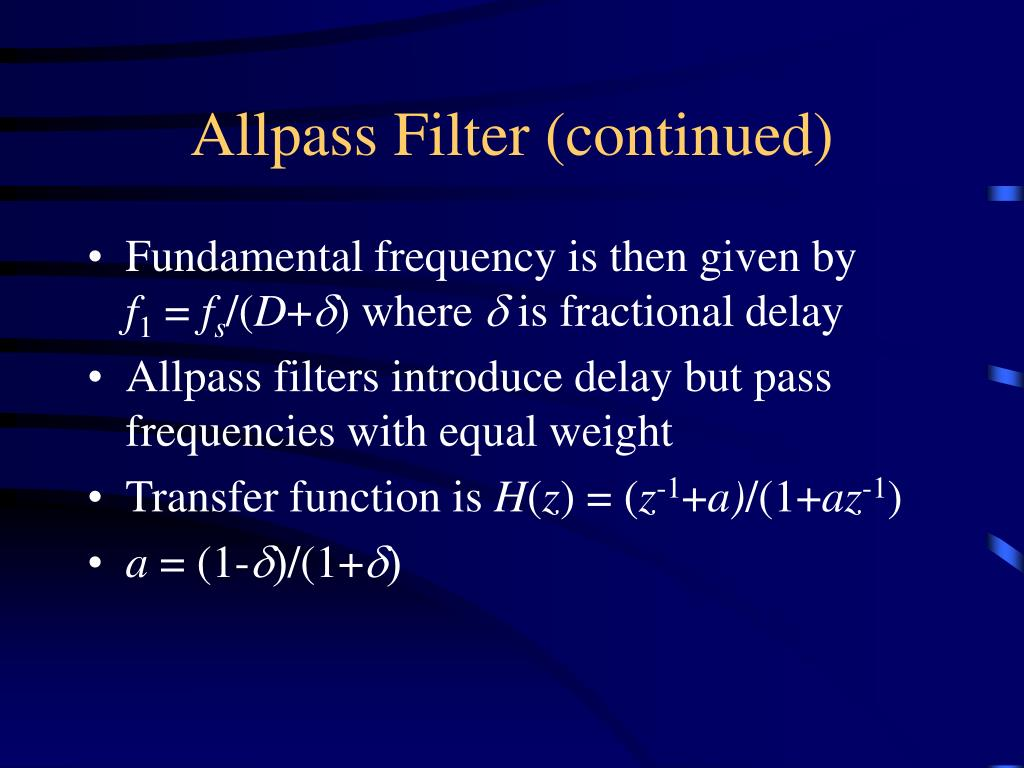 Allpass Filter (continued)