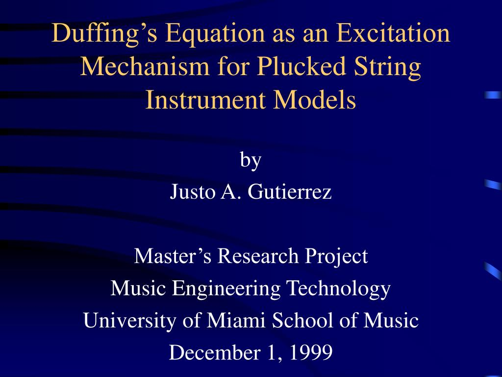 duffing s equation as an excitation mechanism for plucked string instrument models