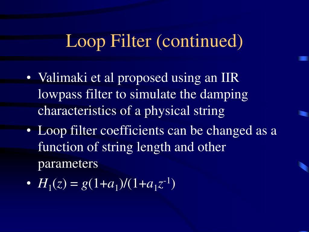 Loop Filter (continued)