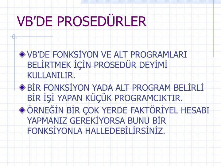 VB'DE PROSEDÜRLER