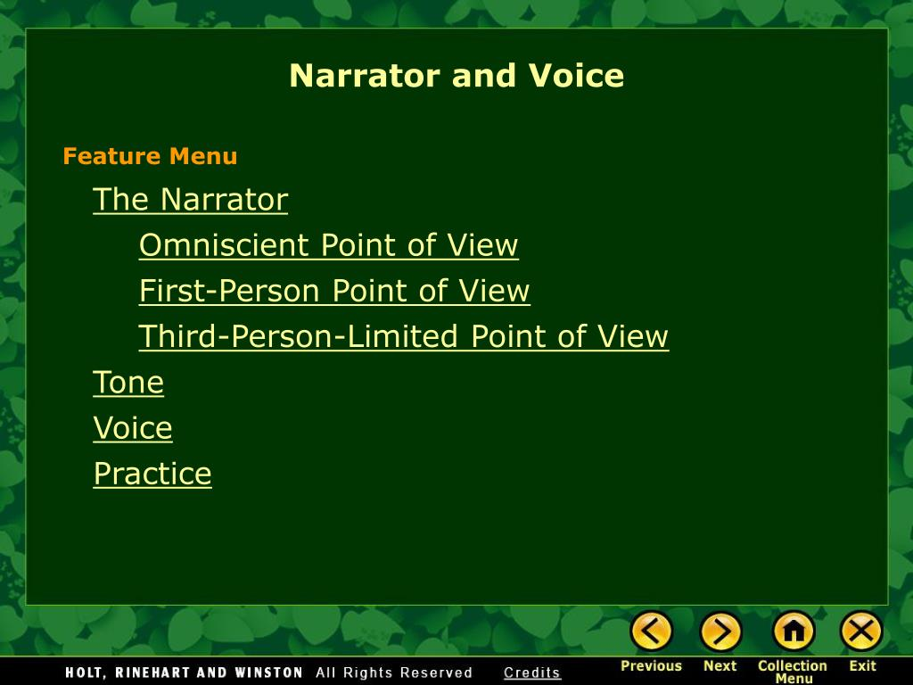 narrator and voice