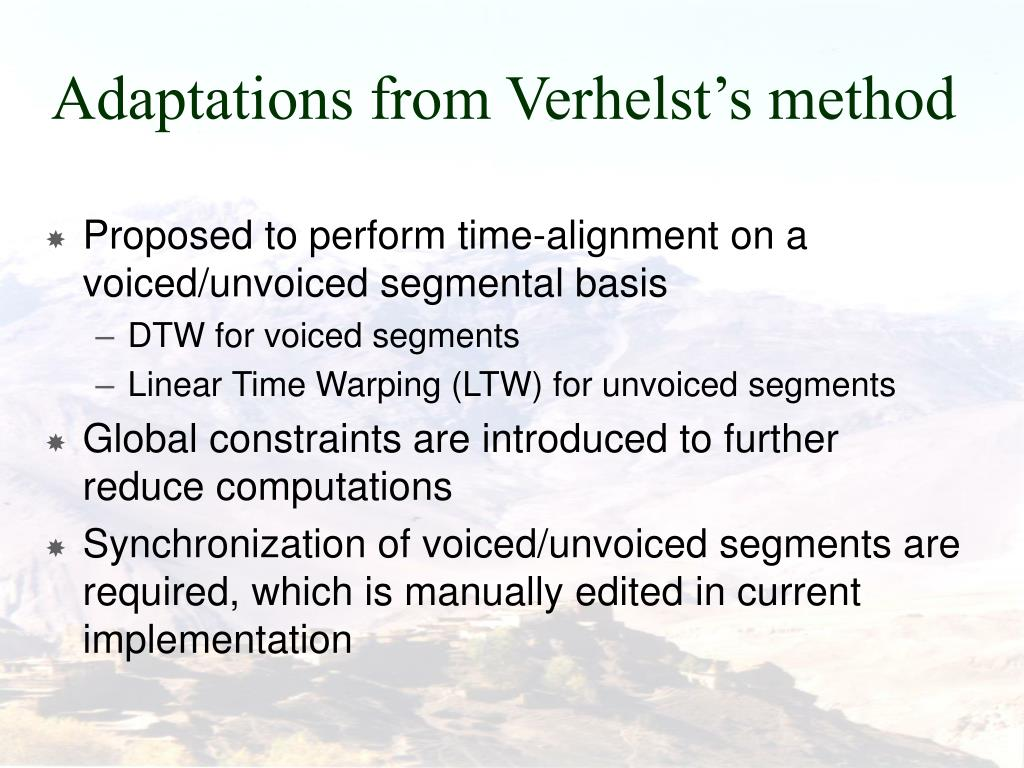 Adaptations from Verhelst's method