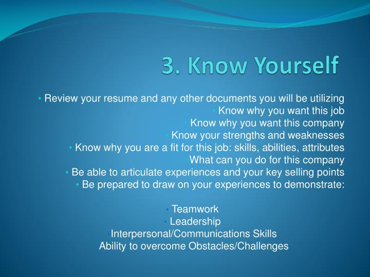 3. Know Yourself