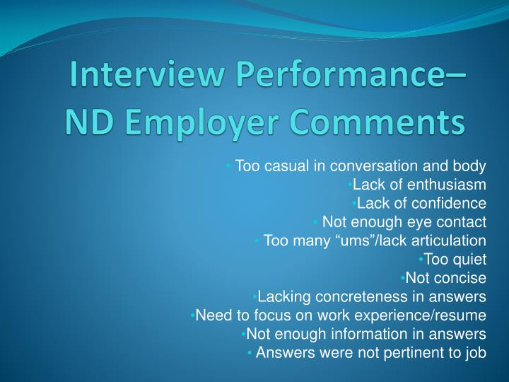 Interview Performance