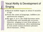 vocal ability development of singing