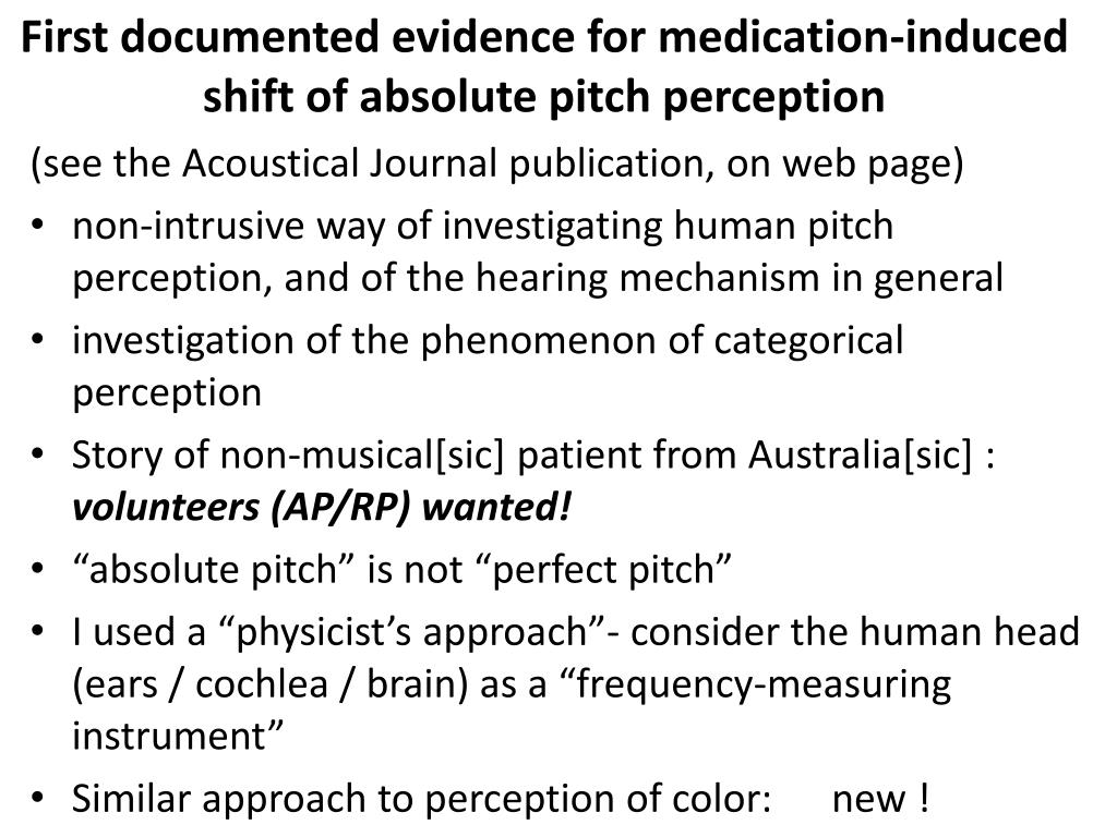First documented evidence for medication-induced shift of absolute pitch perception
