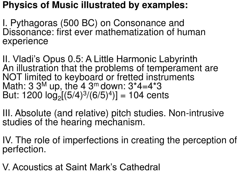 Physics of Music illustrated by examples: