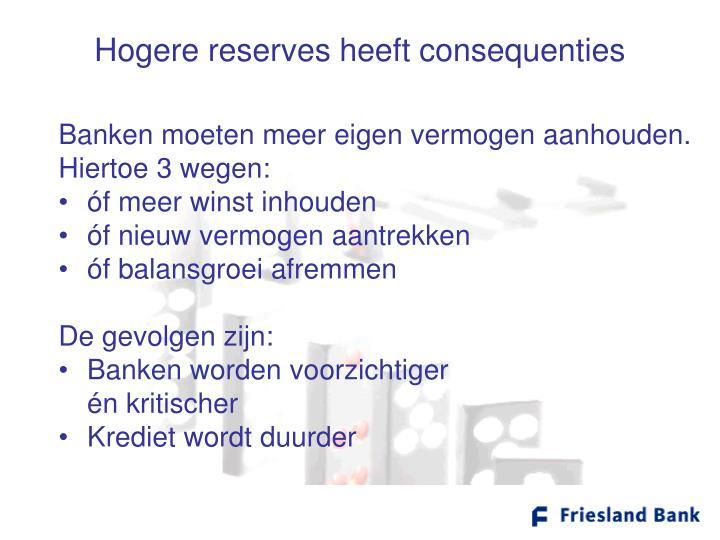 Hogere reserves heeft consequenties