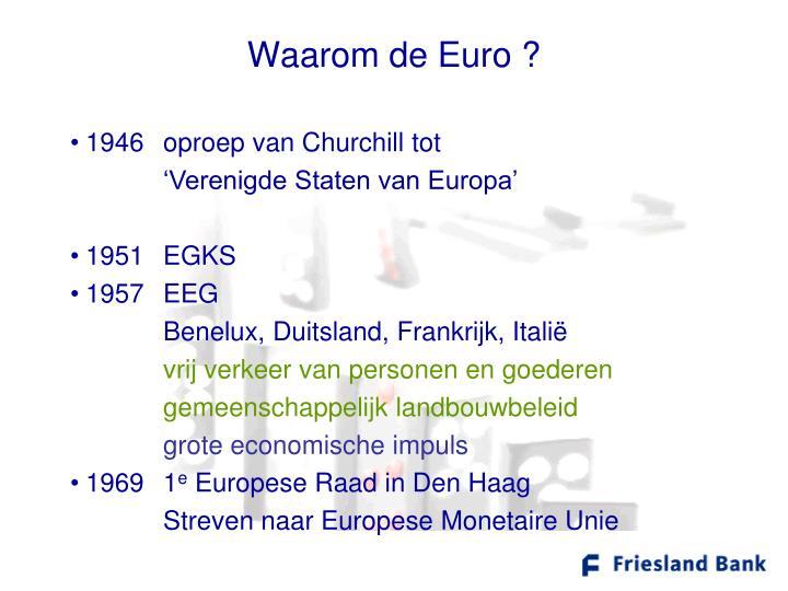 Waarom de Euro ?