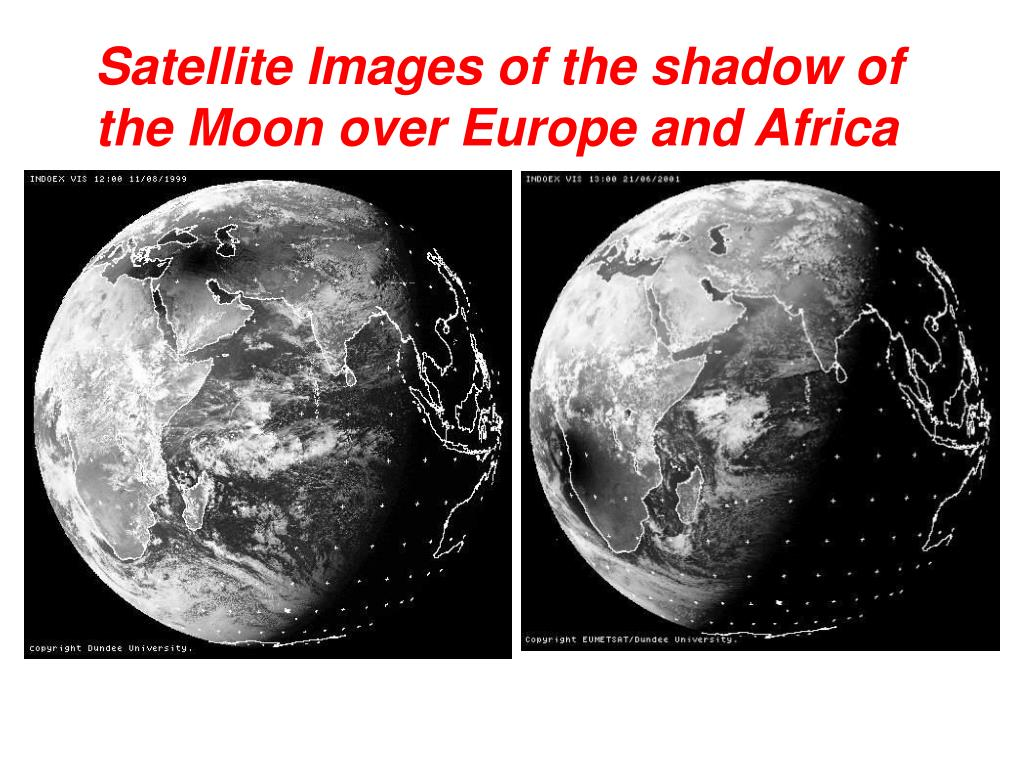Satellite Images of the shadow of the Moon over Europe and Africa