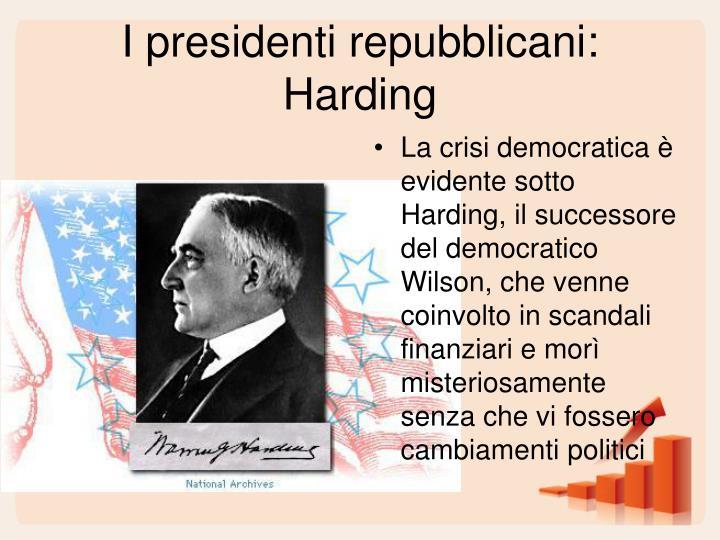 I presidenti repubblicani: Harding