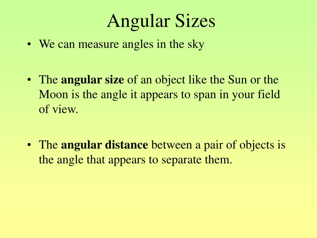 Angular Sizes