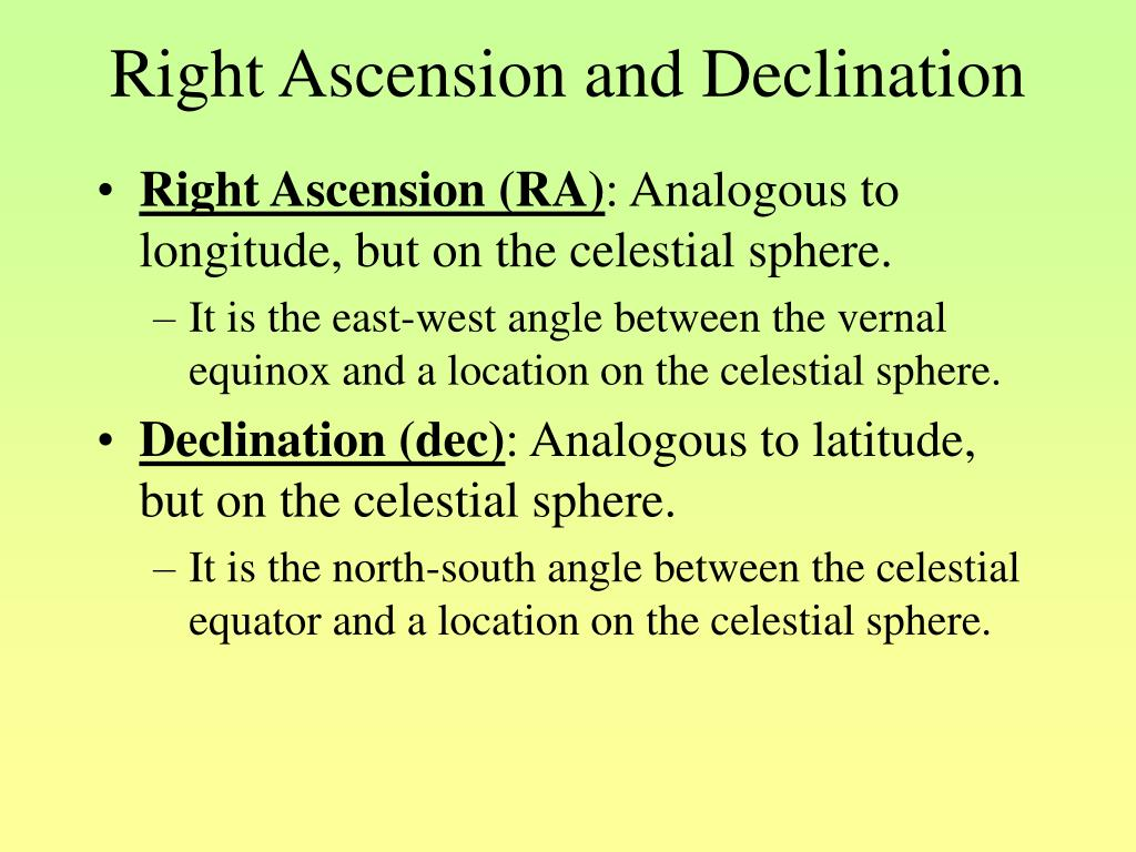 Right Ascension and Declination