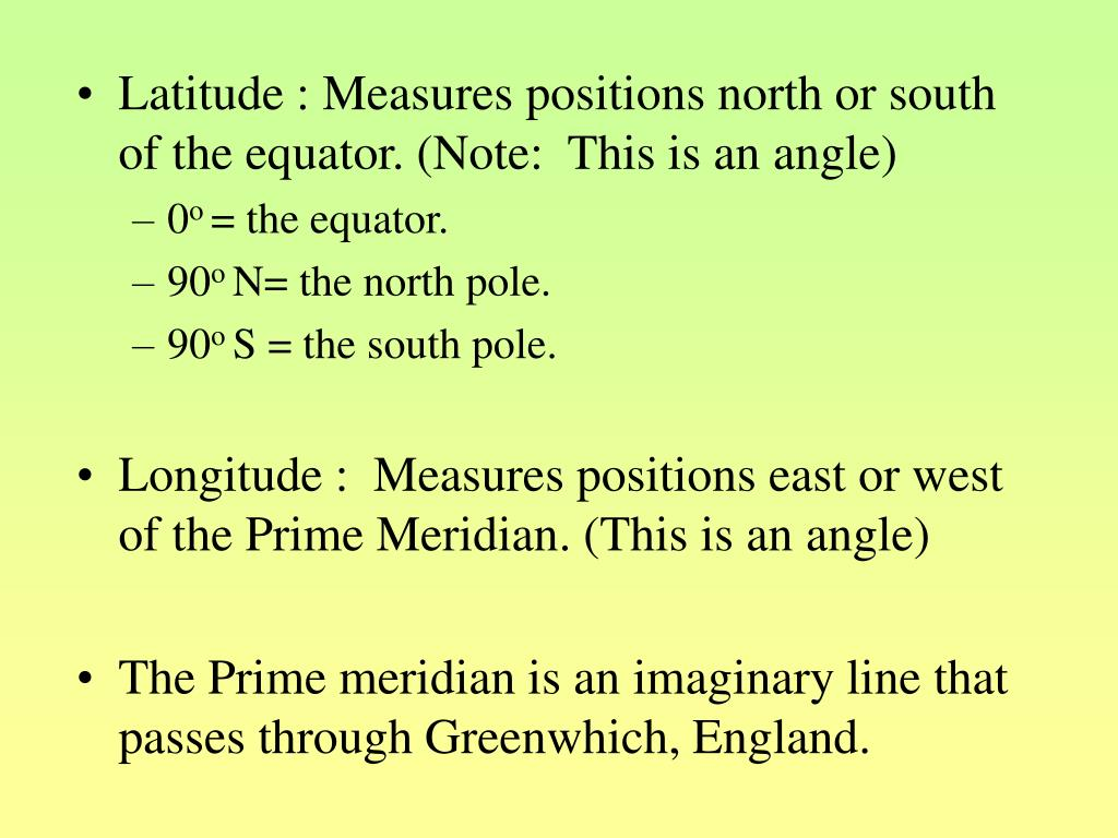 Latitude : Measures positions north or south of the equator. (Note:  This is an angle)