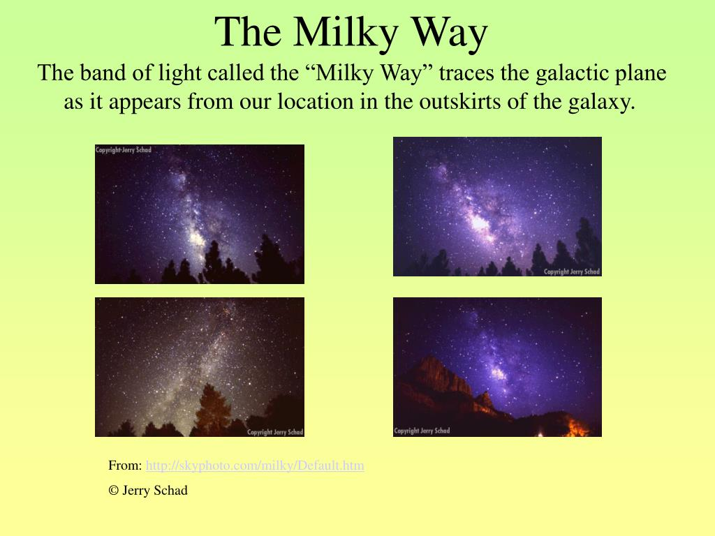 "The band of light called the ""Milky Way"" traces the galactic plane as it appears from our location in the outskirts of the galaxy."