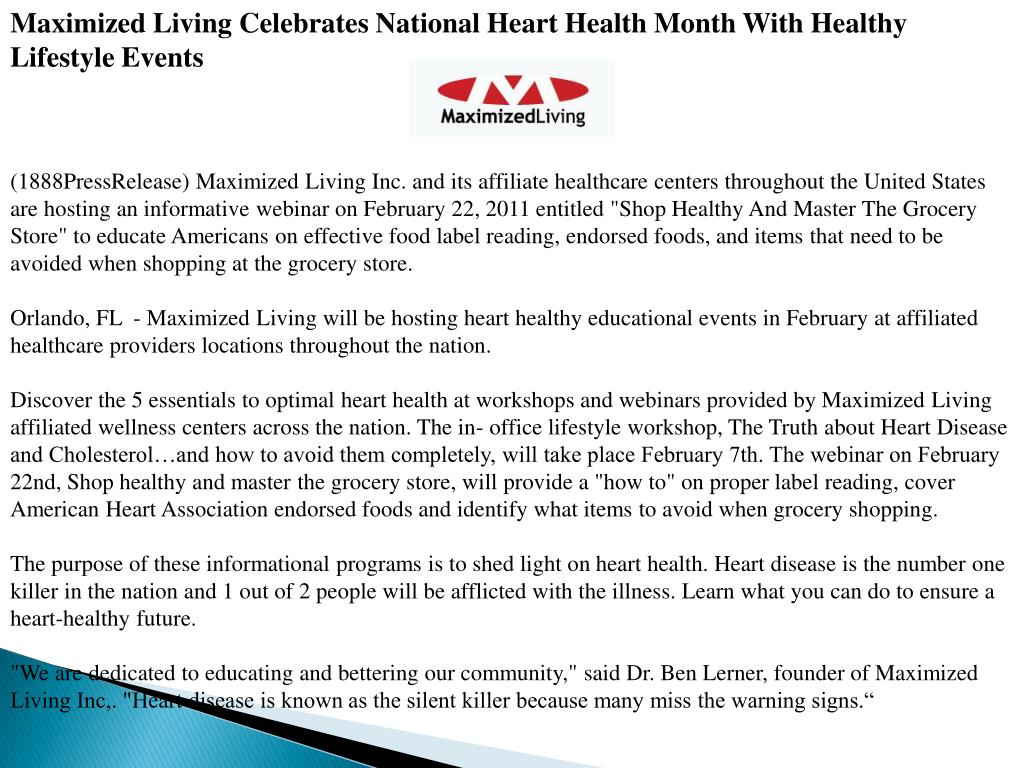 Maximized Living Celebrates National Heart Health Month With Healthy Lifestyle Events