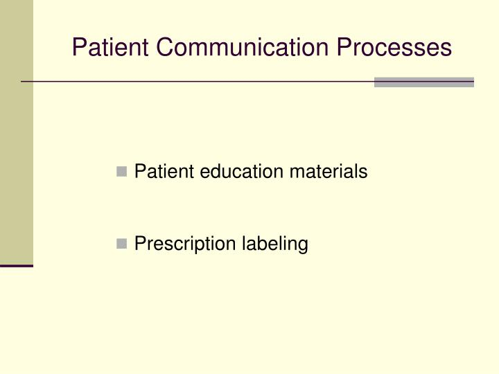 Patient Communication Processes