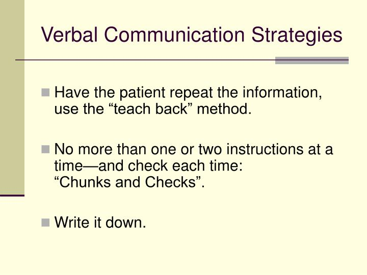 Verbal Communication Strategies