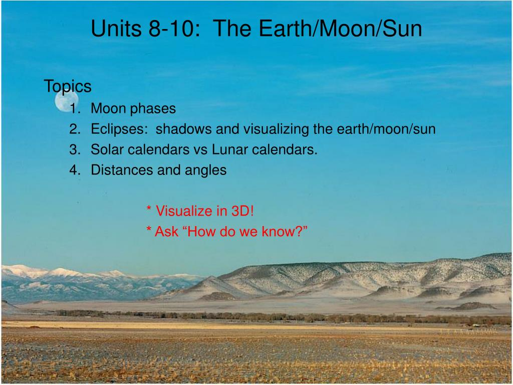 Units 8-10:  The Earth/Moon/Sun