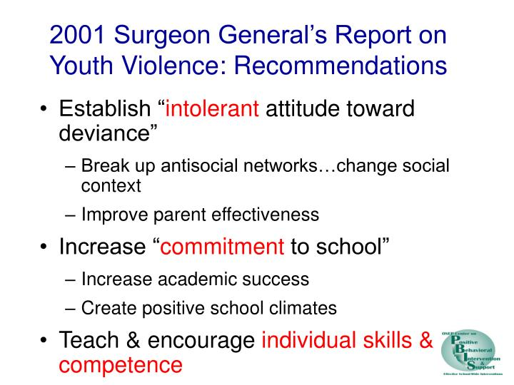 2001 Surgeon General's Report on Youth Violence: Recommendations