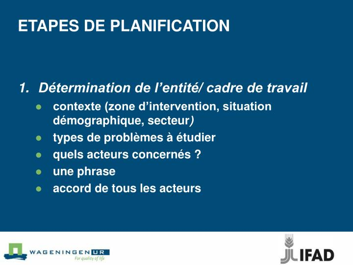 ETAPESDE PLANIFICATION