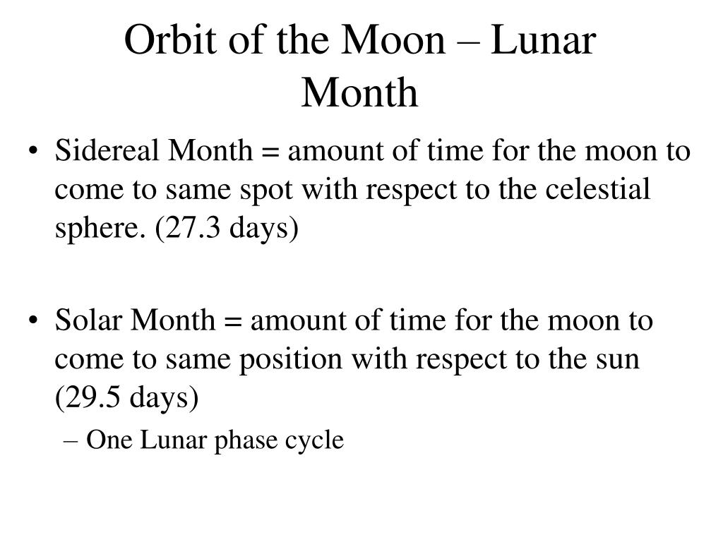 Orbit of the Moon – Lunar Month